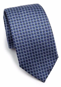 Square Print Silk Tie by Armani Collezioni in Billions