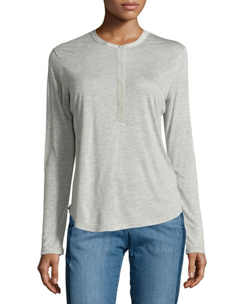 Long-Sleeve Henley Tee by Vince in Jane Got A Gun