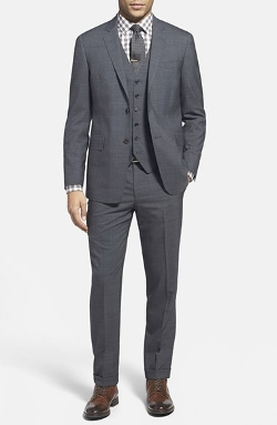Trim Fit Three Piece Plaid Wool Suit by Todd Snyder White Label in Mission: Impossible - Rogue Nation