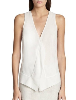 Draped Stretch Silk Blouse by Donna Karan in Quantico