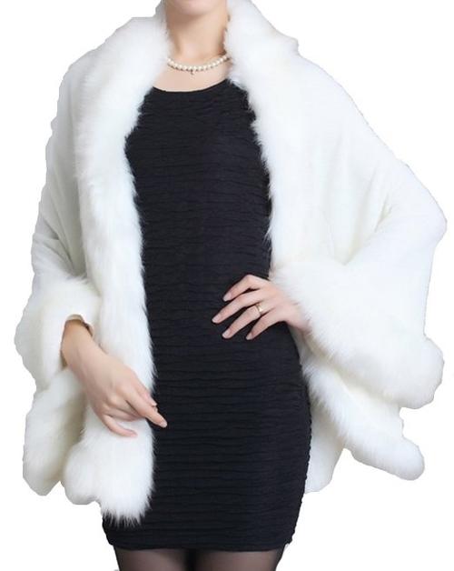 Faux Fox Fur Shawl Cloak Cape by Helan Apparel in Twilight