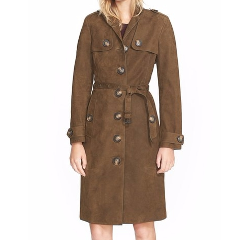 'Dellsbridge' Long Single Breasted Suede Trench Coat by Burberry Brit in How To Get Away With Murder - Season 3 Episode 2