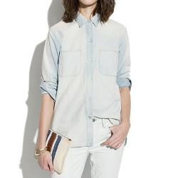 Perfect Chambray Ex-Boyfriend Shirt in Ferrous Wash by Madewell in Ride Along