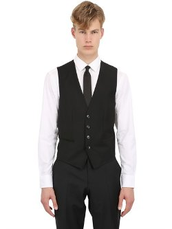 Stretch Wool Vest by Hugo Boss in Black or White