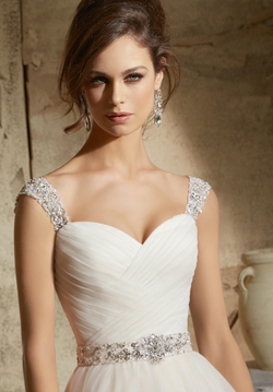 Mori Lee Bridal Rich Beading On Satin Belt Dress by Madeline Gardner in Arrow