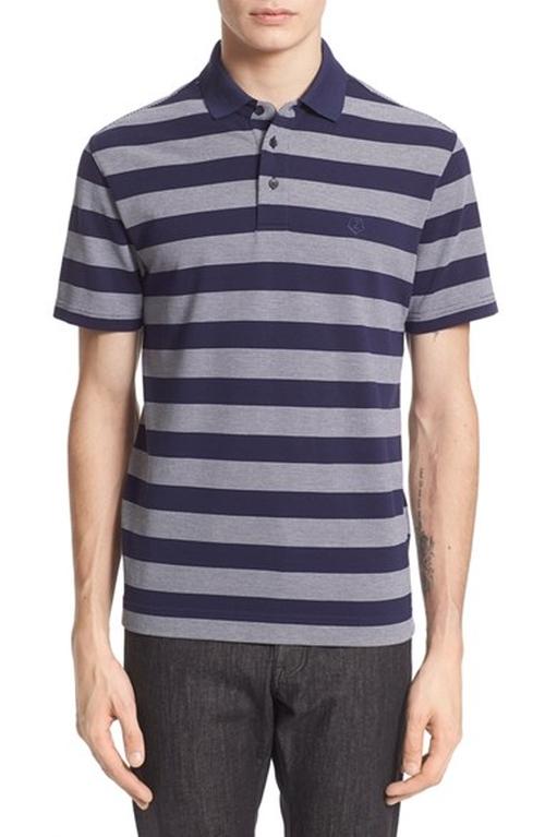 Stripe Mercerized Cotton Polo Shirt by Z Zegna in Barbershop: The Next Cut