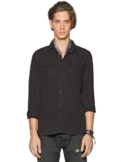 Light Denim Western Shirt by The Kooples in Self/Less
