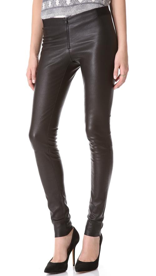 Zip Front Leather Leggings by Alice + Olivia in New Year's Eve