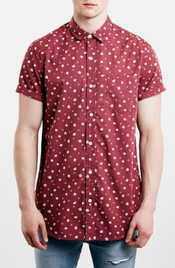 Trim Fit Short Sleeve Floral Print Shirt by Topman in Black-ish