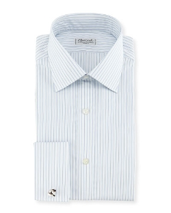 Shadow Striped French-Cuff Dress Shirt by Charvet in Ex Machina