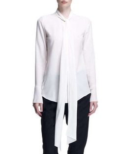 Long-Sleeve Tie-Neck Blouse by Chloe in The Other Woman