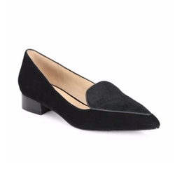 Dellora Suede & Calf Hair Point-Toe Flats by Cole Haan in Suits