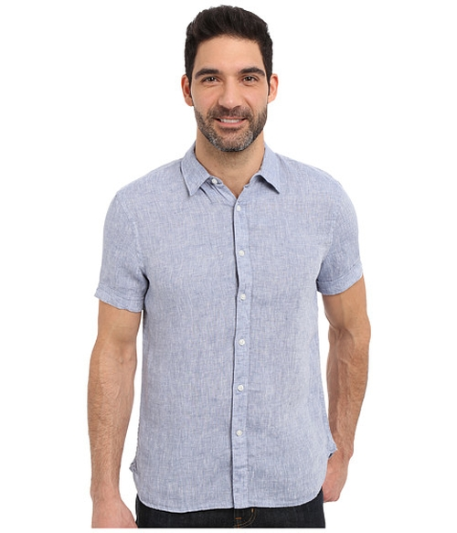 Short Sleeve Solid Linen Shirt by Perry Ellis in Love - Season 1 Preview