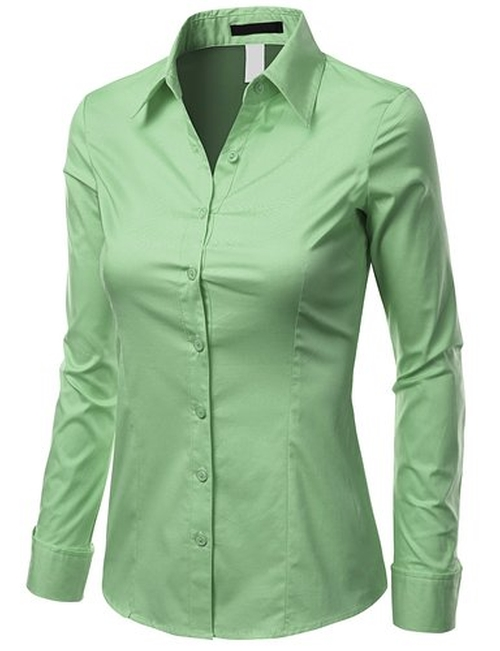 Women Long Sleeve Button-Down Spandex Shirt by Doublju in Grease