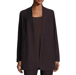 Stretch-Crepe Stand-Collar Long Jacket by Eileen Fisher in Quantico