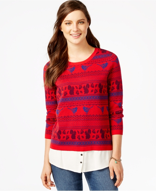 Printed Layered-Look Sweater by G.H. Bass & Co. in Love Actually