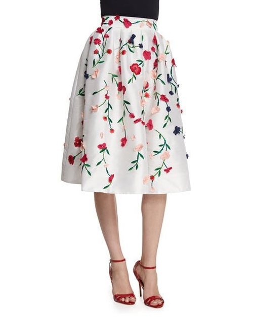 Floral-Embroidered A-Line Skirt by Monique Lhuillier in Brooklyn