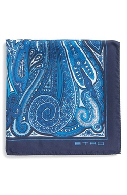 Paisley Print Silk Pocket Square by Etro in Ballers