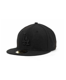 Los Angeles Dodgers Black on Black Fashion Cap by New Era 59Fifty in Straight Outta Compton