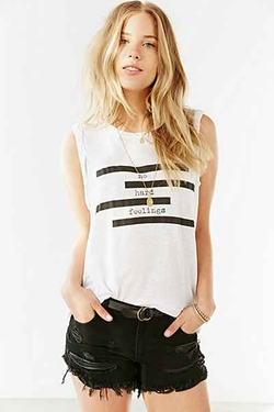 Spliced Verbiage Twist-Cuff Muscle Tee by Truly Madly Deeply in Scream Queens