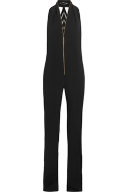 Wera Velvet-Trimmed Crepe Jumpsuit by Roland Mouret in Keeping Up With The Kardashians