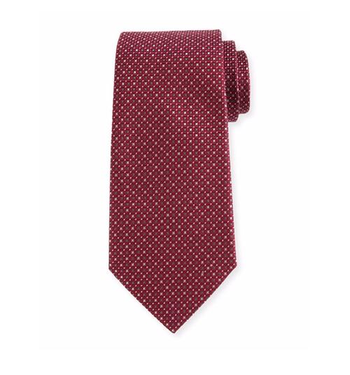 Woven Neat Silk Tie by Armani Collezioni in Gold