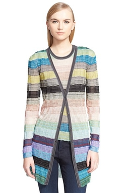 Multi Stripe Stitch Detail Long Cardigan by Missoni in Empire