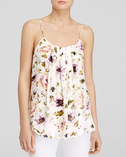 'Emily' Pleat Floral Cami Top by Haute Hippie in The Vampire Diaries