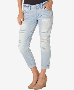 Ripped Wash Boyfriend Jeans by Silver Jeans Co. in Chelsea
