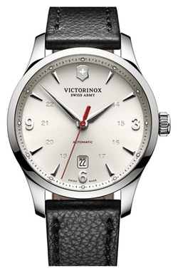 'Alliance' Round Leather Strap Watch by Victorinox Swiss Army in Scandal