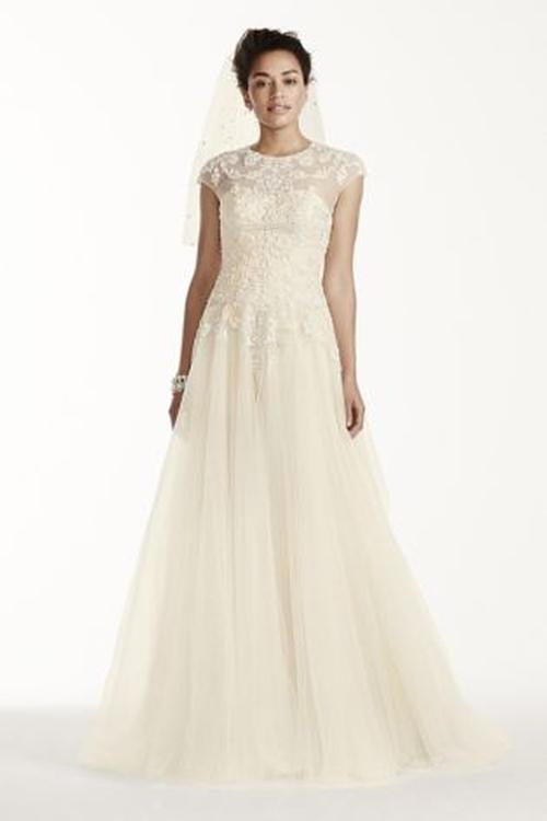 Cap Sleeve Tulle Wedding Dress by Oleg Cassini in New Girl - Season 5 Episode 5
