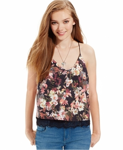 Lace-Trim Faux Suede Cami Top by Suede in GoldenEye