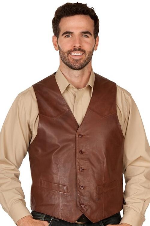 Glenn Waxed Lambskin Leather Vest by Overland Sheepskin Co in Ant-Man