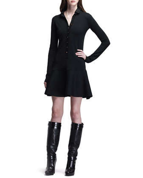Wardour Drop-Waist Dress with Removable Leather Collar by Belstaff in Addicted