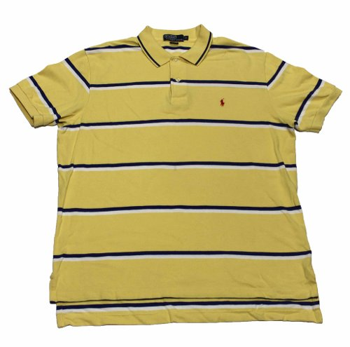 Yellow/Navy Vintage Striped Polo Shirt by Ralph Lauren in Crazy, Stupid, Love.
