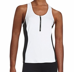 Colorblock Front Zip Scuba Tank Top by Calvin Klein Performance in Quantico