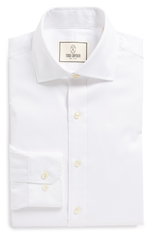 Trim Fit Solid Dress Shirt by Todd Snyder White Label in Absolutely Anything