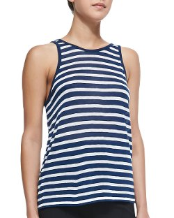 Striped Rayon-Linen Tank Top by T by Alexander Wang in Pitch Perfect 2