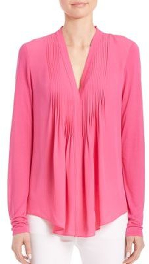 Willow Pleated-Front Silk Blouse by Elie Tahari in Guilt - Season 1 Episode 4