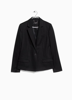 Classic Cotton-Blend Blazer by Mango in Whiskey Tango Foxtrot