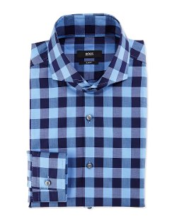 Slim Fit Large-Check Dress Shirt by Boss Hugo Boss in Entourage