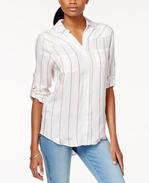 Striped Roll-Tab-Sleeve Shirt by Levi's in Pretty Little Liars