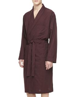 Men's Plaid Cotton Robe by Neiman Marcus in Couple's Retreat