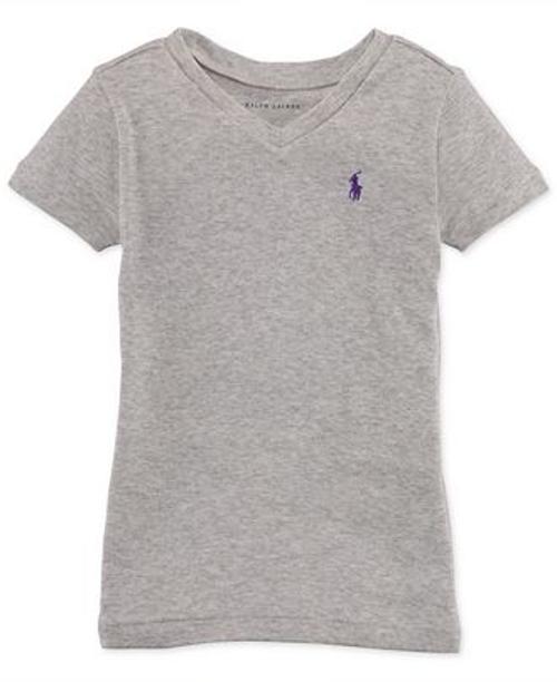 Little Girls' Cotton V-Neck T-Shirt by Ralph Lauren in Boyhood