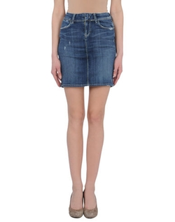 Dark Wash Denim Skirt by Genetic Denim in She's The Man