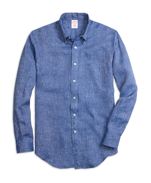 Madison Fit Linen Sport Shirt by Brooks Brothers in Trainwreck
