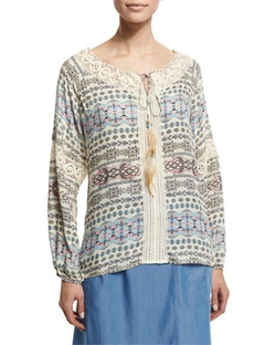 Printed Peasant Top W/ Feather Self-Tie by Neiman Marcus  in The Night Of