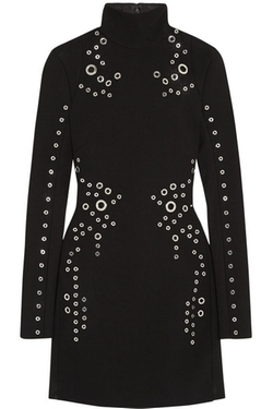 Eyelet-Embellished Wool-Crepe Mini Dress by Mugler in Keeping Up With The Kardashians