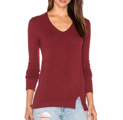 Side Slit V Neck Sweater by Inhabit in Pitch Perfect 3