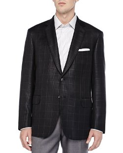 Check Houndstooth Two-Button Jacket by Brioni in Focus